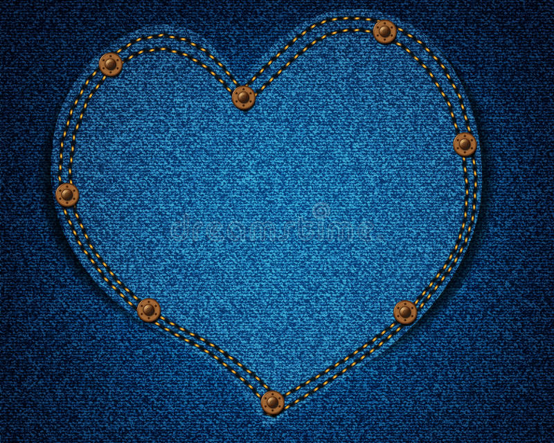 De textuur van jeans met hart vector illustratie