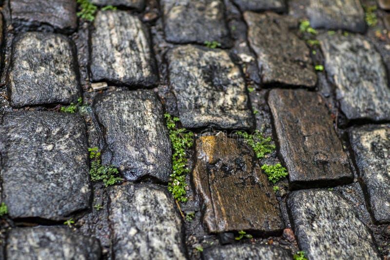 De textuur van de steenbestrating Het graniet cobblestoned bestratingsachtergrond royalty-vrije stock foto