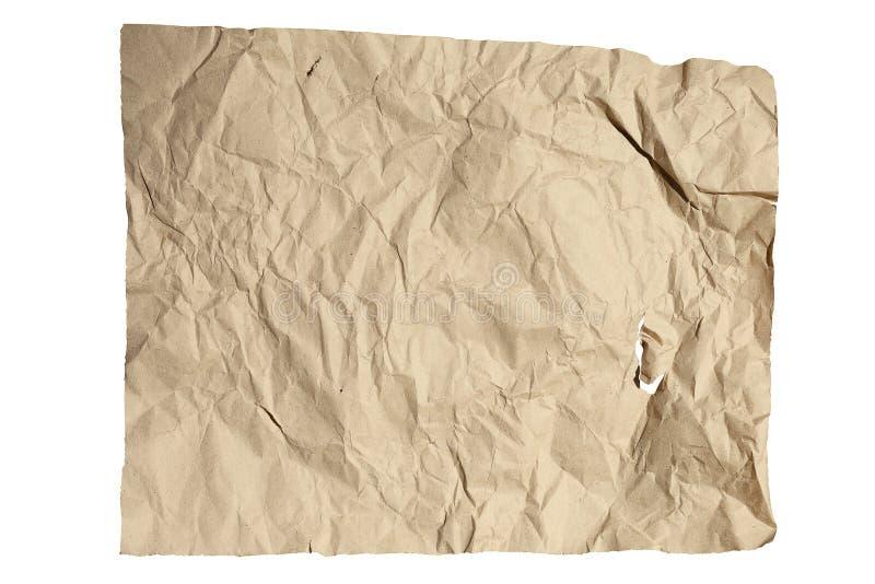 De textuur van verfrommeld kraftpapier-document stock foto