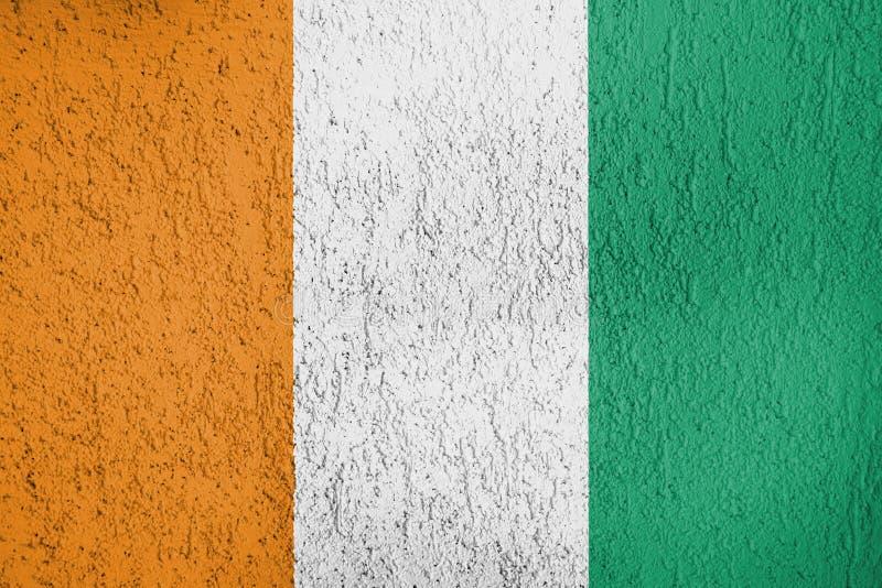 De textuur van de vlaggen van CÃ'te D ` Ivoire stock afbeelding