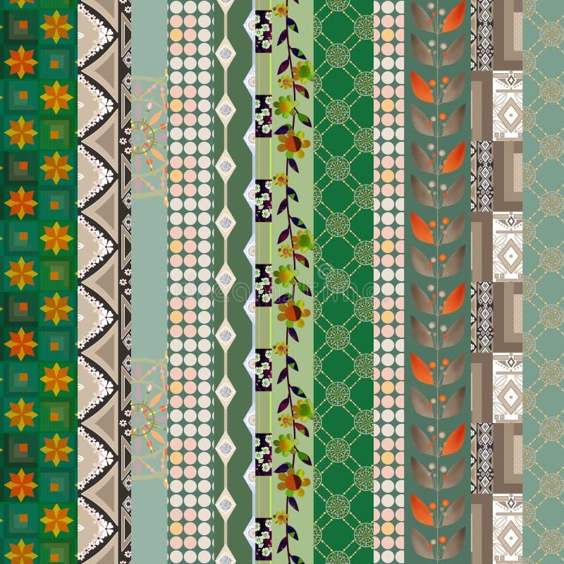 De textuurachtergrond DE van het lapwerk verticale naadloze bloemenpatroon royalty-vrije illustratie