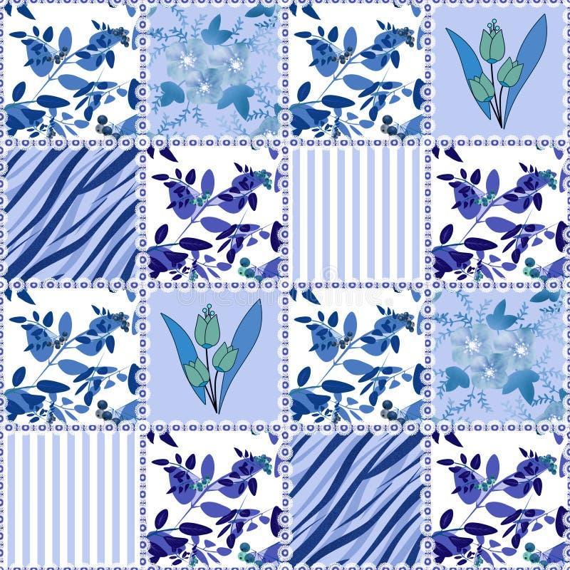 De textuurachtergrond van het lapwerk naadloze bloemenpatroon vector illustratie