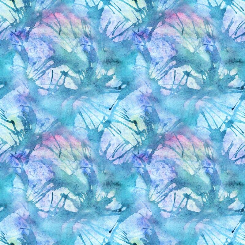 De textuurachtergrond van het waterverf turkooise cyaan abstracte naadloze patroon royalty-vrije illustratie