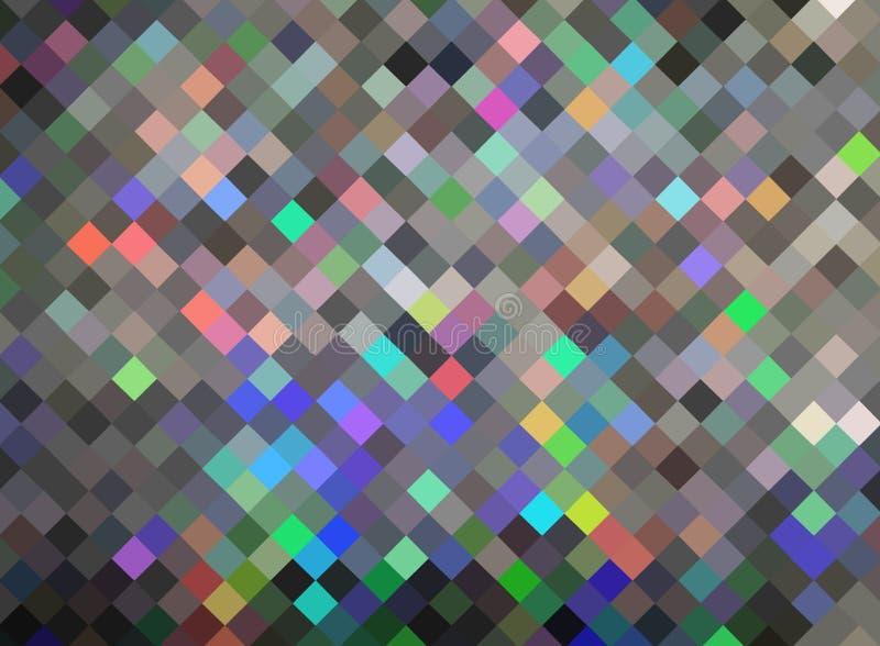 De textuursamenvatting van de hologramdiamant De briljante achtergrond van het kristallenmozaïek Het geruite behang van de pixelf royalty-vrije illustratie