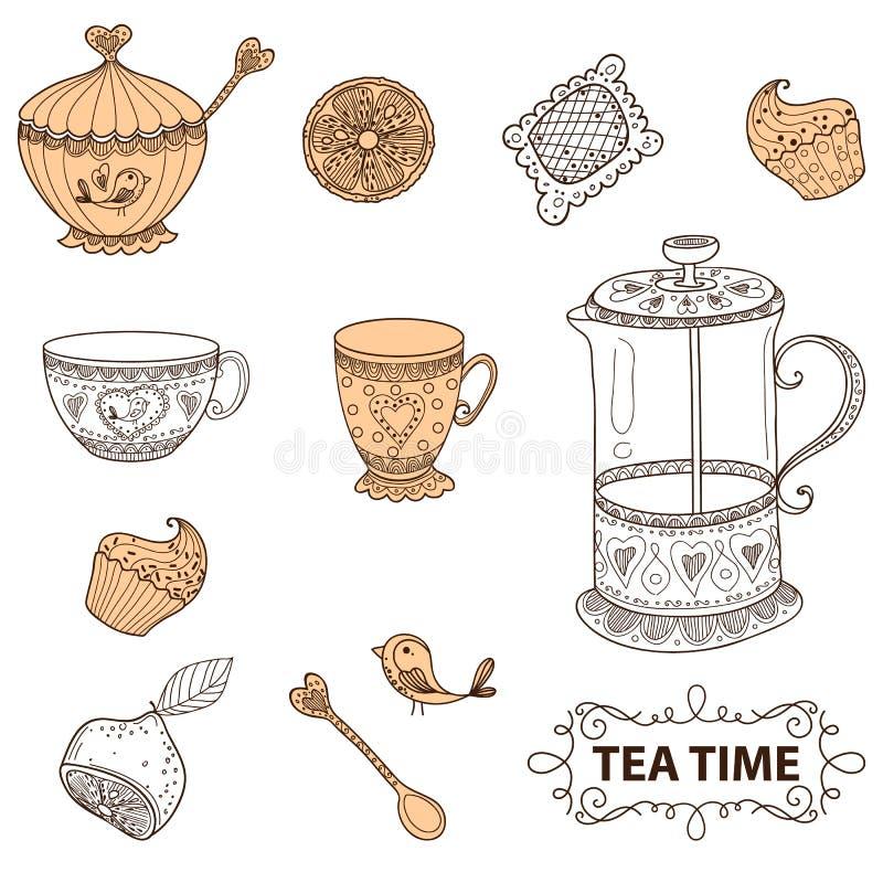De thé de temps toujours ensemble de la vie, croquis, griffonnage, aspiration de main illustration stock