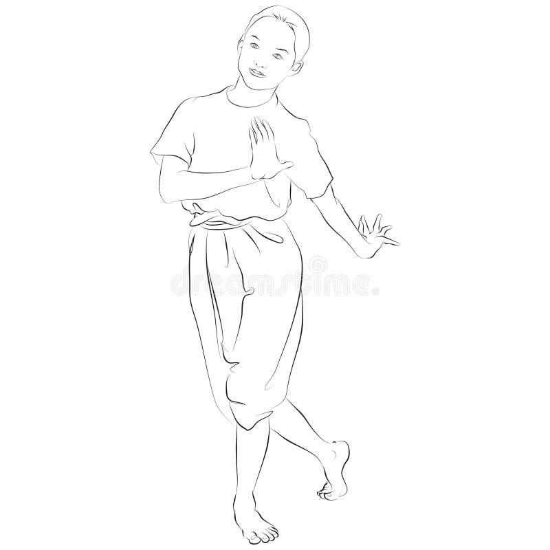 De thailändska nationella danserna royaltyfri illustrationer
