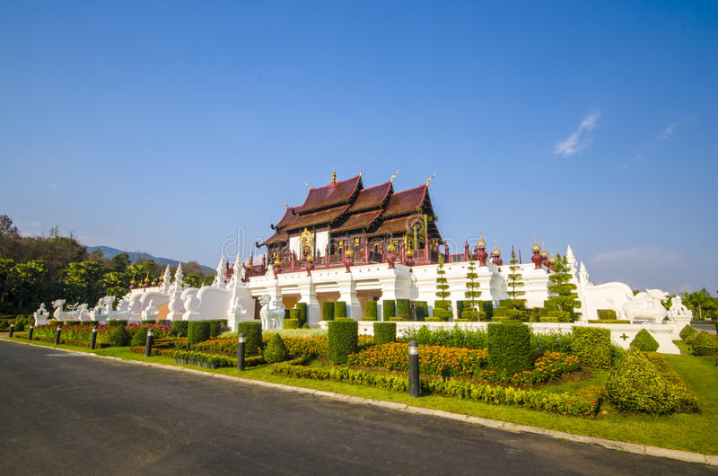 De Thaise architectuur van Ho Kham Luang Traditional in de Lanna-stijl royalty-vrije stock foto's