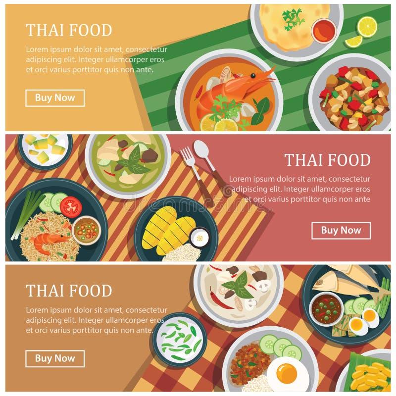 De Thaise banner van het voedselweb De Thaise coupon van het straatvoedsel royalty-vrije illustratie