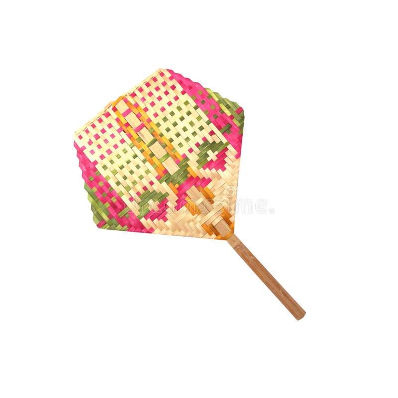 De Thaise inheemse kleurrijke ventilator maakte van bamboeweefsel dat op witte achtergrond met het knippen van weg wordt ge?solee stock foto