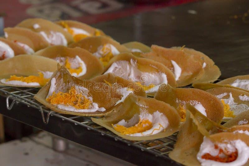 De Thaise Knapperige Pannekoek is een Thais dessert royalty-vrije stock foto