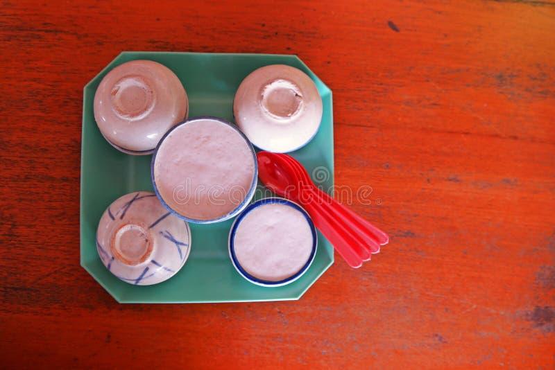 De Thaise kokosmelkvla, zoet Thais dessert royalty-vrije stock foto's