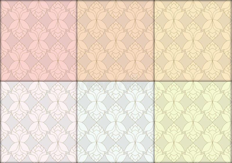 De Thaise lotusbloem bloeit naadloze uitstekende patroon vector abstracte rug royalty-vrije illustratie