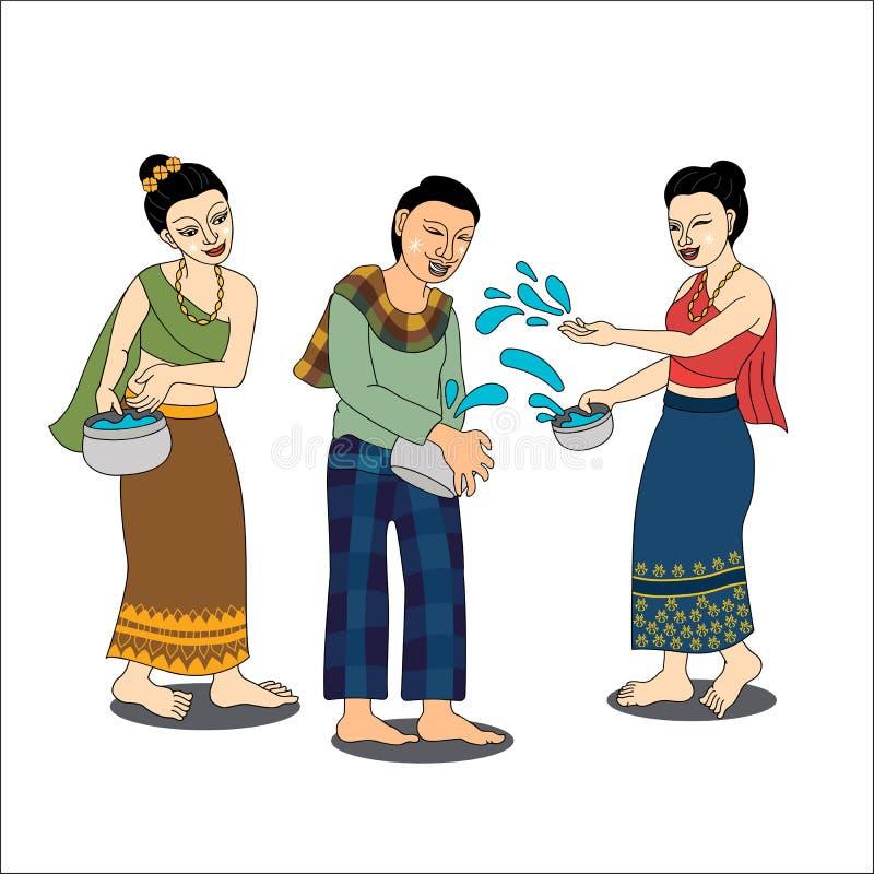 De Thaise mensen genieten van bespattend water in Songkran-festiva stock foto