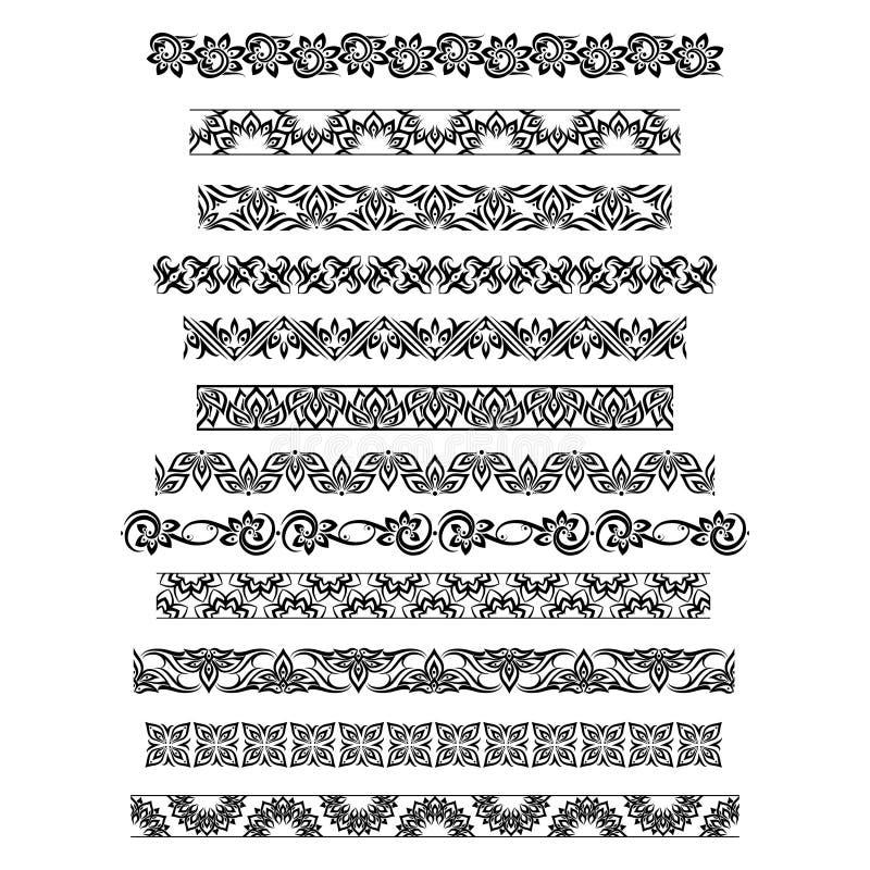 De Thaise patronen van de ornamentgrens met vector Thaise bloemenmotieven stock illustratie