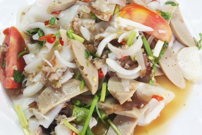 De Thaise salade van de varkensvleesworst royalty-vrije stock fotografie