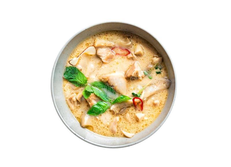 De Thaise soep van de kippenkokosnoot stock afbeeldingen