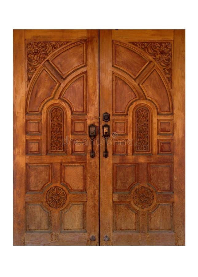 De Thaise stijlantiquiteit sneed houten deur van teakhout stock foto's