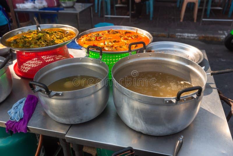De Thaise, straatvoedsel van Thailand Kruidig, veggie zeevruchten, stock fotografie