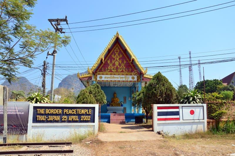 De Thaise Tempel van de Grensvrede Thais - Japan bij Drie Pagodenpas royalty-vrije stock afbeelding