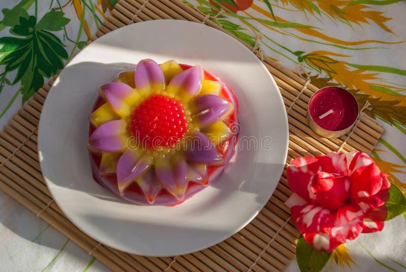 De Thaise Zoete Cake of Kanom Chan van de dessertlaag royalty-vrije stock foto's