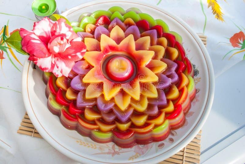 De Thaise Zoete Cake of Kanom Chan van de dessertlaag royalty-vrije stock afbeeldingen