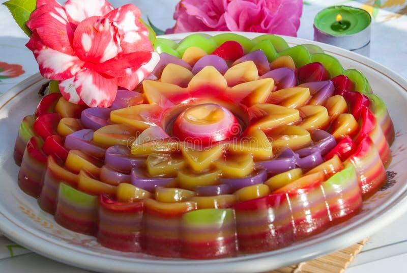 De Thaise Zoete Cake of Kanom Chan van de dessertlaag royalty-vrije stock afbeelding