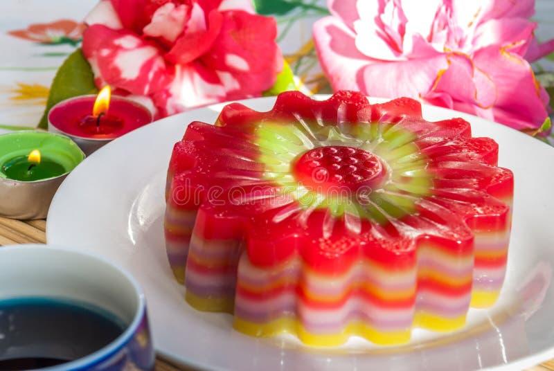 De Thaise Zoete Cake of Kanom Chan van de dessertlaag stock afbeelding
