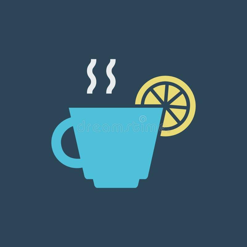 De thee van het lijnpictogram met citroen vector illustratie