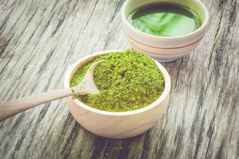 De thee van Matcha stock afbeeldingen