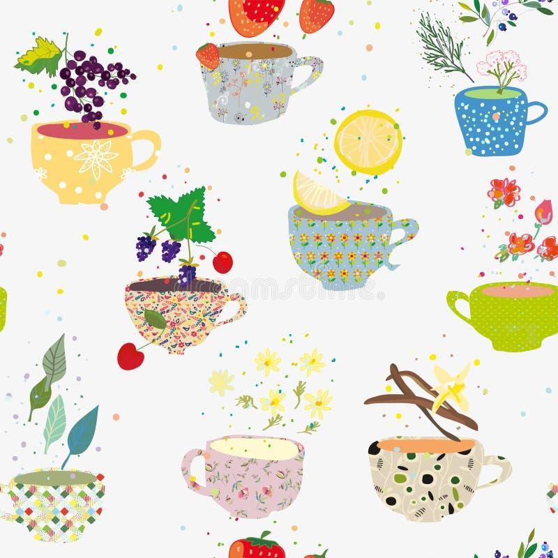 De thee vormt naadloos patroon met vele soorten tot een kom, retro stijl Vector illustratie vector illustratie