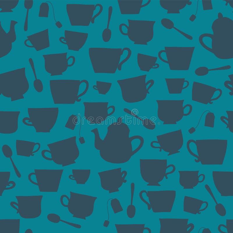 De thee vormt silhouetten vector naadloze achtergrond tot een kom stock illustratie
