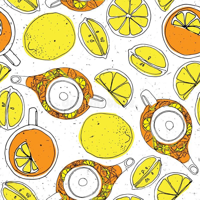 De theehand trekt naadloos patroon met theepot, citroenen en kop Geschetste geweven achtergrond stock illustratie