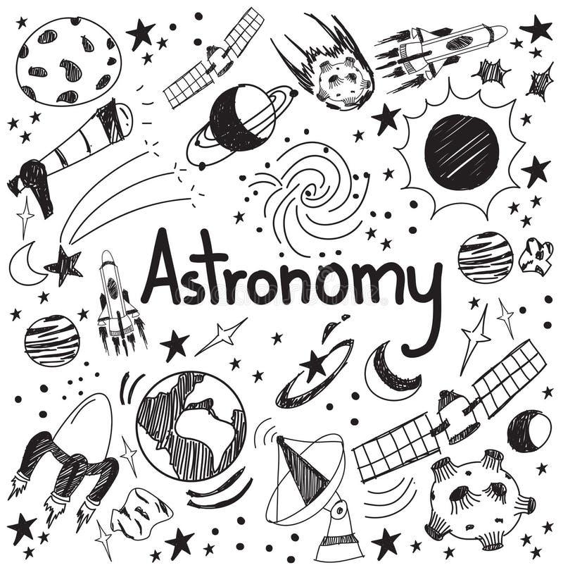 De theorie van de astronomiewetenschap en het handschriftpictogram van de tekeningskrabbel van royalty-vrije illustratie