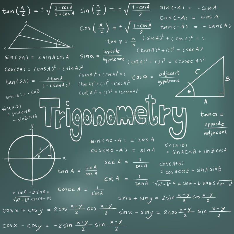 De theorie van de trigonometriewet en wiskundige formulevergelijking, doodl stock illustratie