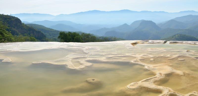 De thermische lentes Hierve Gr Agua in Oaxaca is één van de meeste galant stock afbeelding