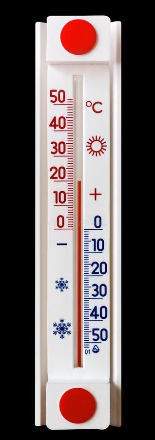 De thermometer op een zwarte isoleerde achtergrond toont 20 graden van heat_ stock fotografie