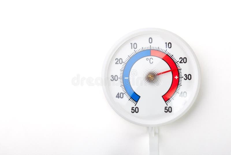 De thermometer toont de temperaturen van de comfortruimte plus 24 Celsius-graad op wh royalty-vrije stock foto's
