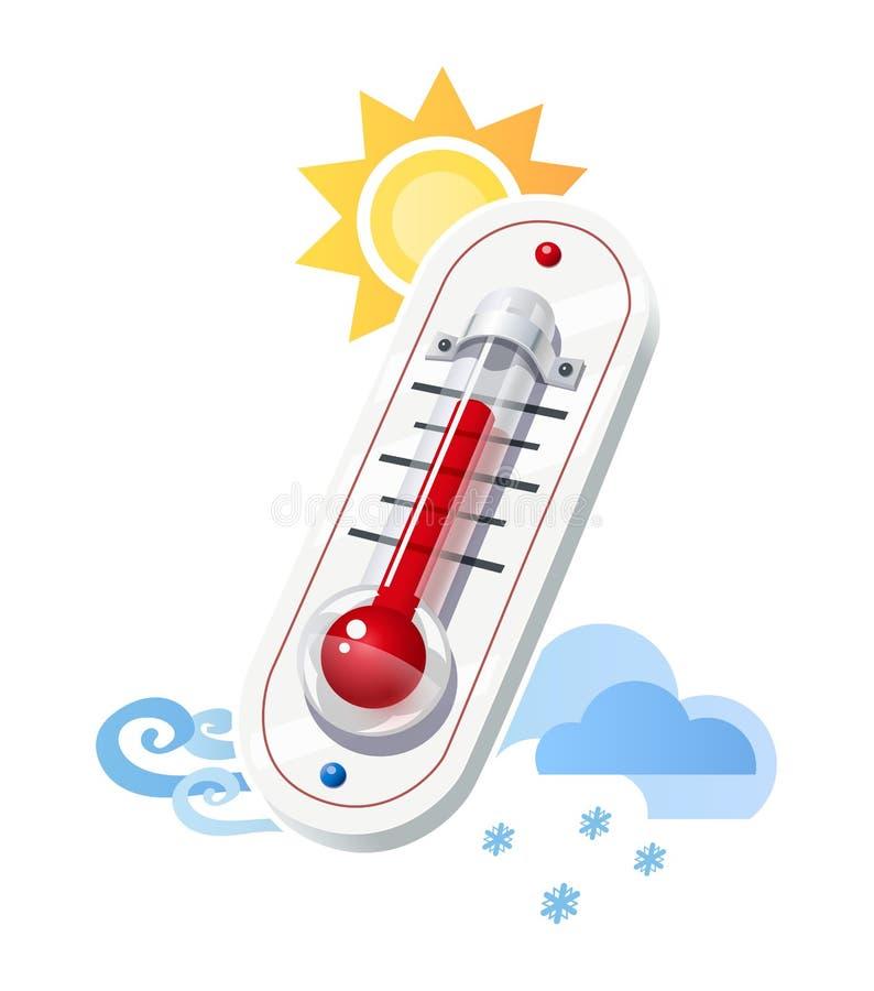De thermometer toont temperatuur en weerpictogrammen royalty-vrije illustratie