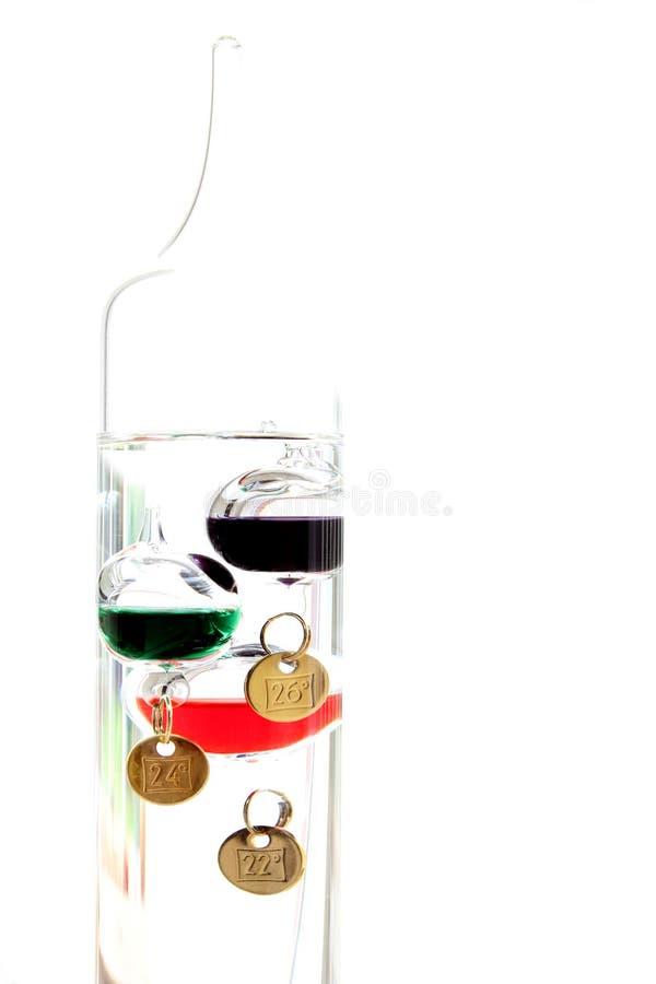 De thermometer van Galileo met glasballen op wit worden geïsoleerd die t tonen dat royalty-vrije stock afbeelding