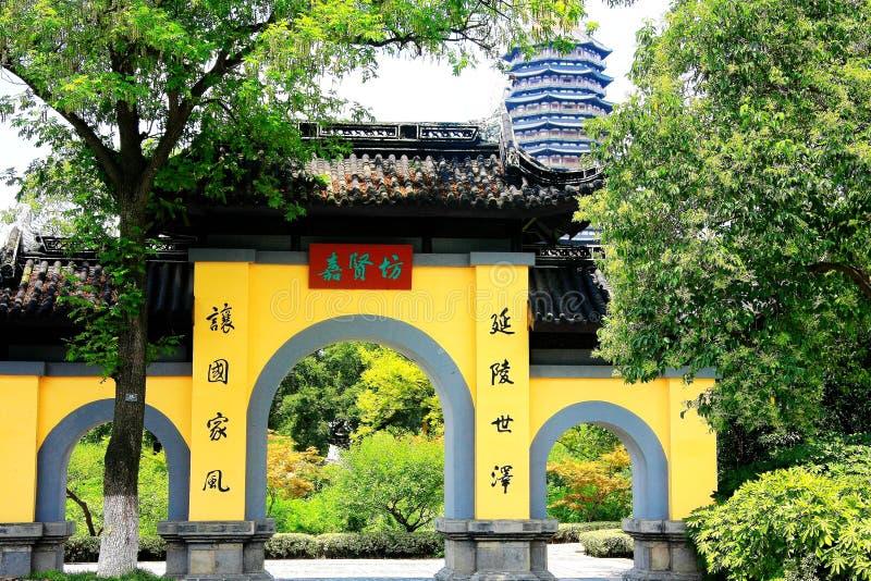De Tianningstempel wordt gevestigd in Changzhou-stad stock foto's
