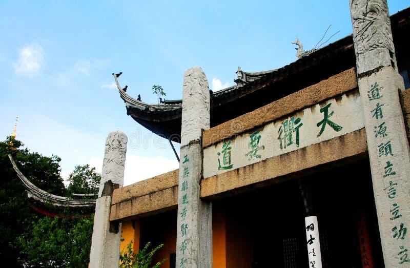 De Tianningstempel wordt gevestigd in Changzhou-stad stock afbeeldingen