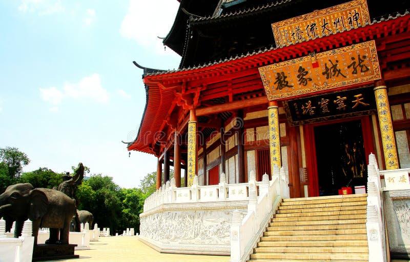 De Tianningstempel wordt gevestigd in Changzhou-stad royalty-vrije stock afbeelding