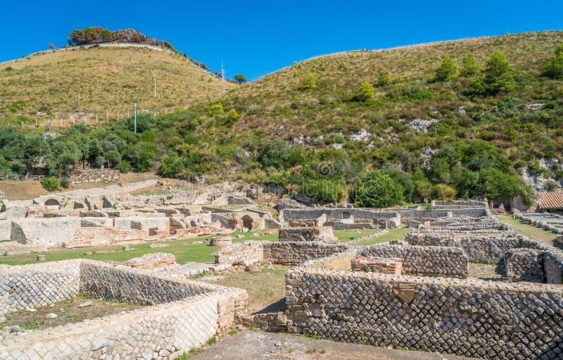 De Tiberio` s Villa, Romein ruïneert dichtbij Sperlonga, de provincie van Latina, Lazio, centraal Italië royalty-vrije stock foto's