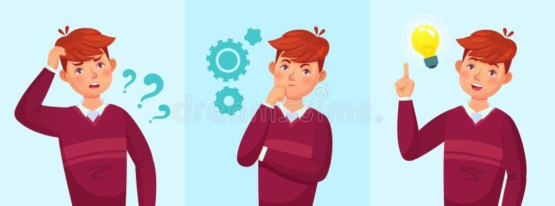 De tiener denkt De nadenkende student, het idee van de tienerjongen of de universitaire studentenkerel losten illustratie van het vector illustratie