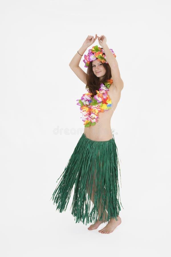 De tiener kleedde zich als Meisje Hula royalty-vrije stock afbeeldingen