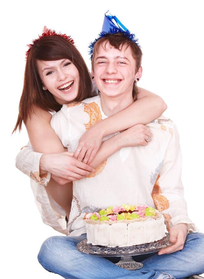 De tienermeisje en jongen van het paar. royalty-vrije stock afbeeldingen