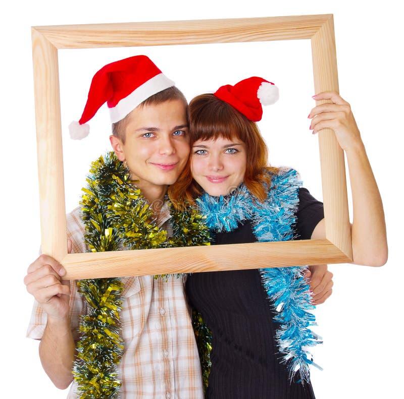 De tieners in een frame glimlachen. stock afbeelding