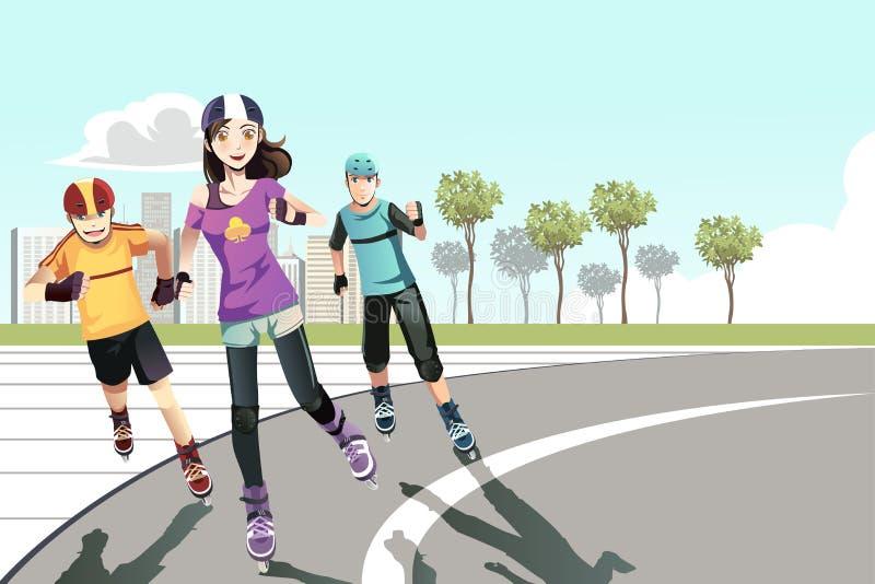 De tieners van Rollerblading stock illustratie