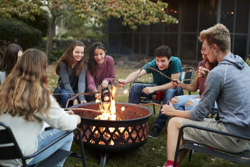 De tienervrienden zitten om de roosterende heemst van een brandkuil stock foto