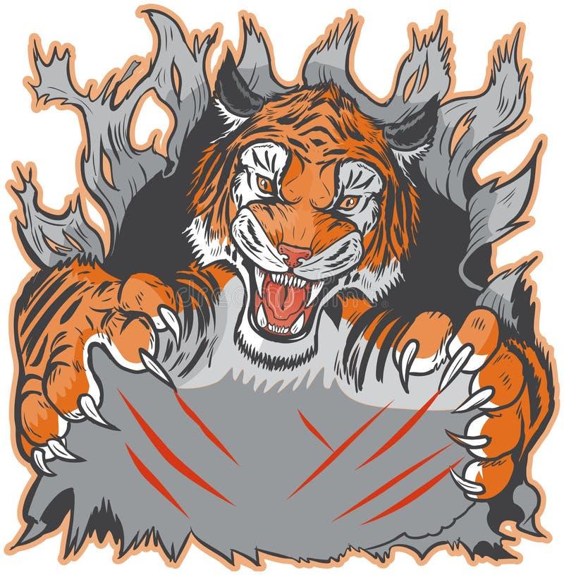 De Tiger Mascot Ripping fundo para fora e molde de agarramento do vetor ilustração stock